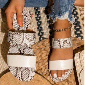 Shoes - Double Strap Sandals in Off White / Snake
